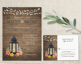 Rustic Wedding Invitation Set Metal Lantern Country Wedding Invitations Suite Navy Blue and Coral Flowers RSVP Cards Digital Printable DIY