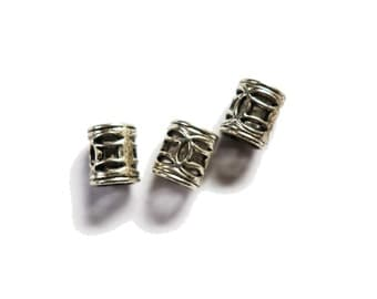 4 Silver dreadlock european dread beads