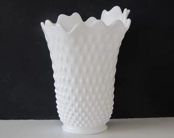 Vintage milkglass vase/ white flowing design/tall flower vase