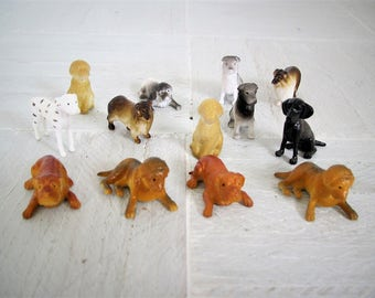 Vintage miniatures/ set of 13 small dog figures/mixed breeds