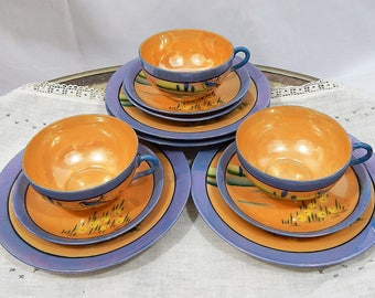 Vintage Takito, TT Japan ,Hand Painted, Lusterware, Tea Set ,Made In Japan,Set Of 11 pieces