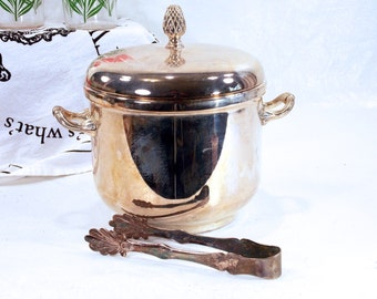 Vintage Godinger Silver Plate Ice Bucket with Silver-plated Tongs, Silver Art, Co, Vintage Barware, Hollywood Regency