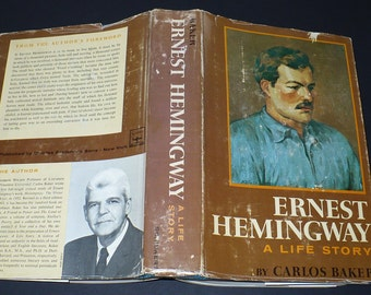 Ernest Hemingway A Life Story by Carlos Baker, 1969, Hard Cover, Jacket, Biography,