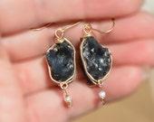 Earrings. Obsidian Earrings. Natural Stone Earrings. Rustic Raw Rough Obsidian Pearl Drop Earrings. Gold Filled Earrings. Free Shipping