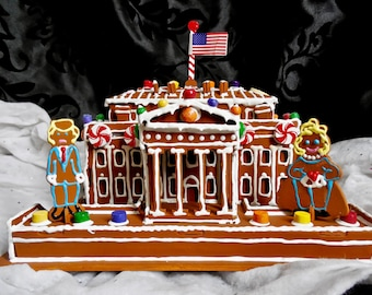 Faux Gingerbread Presidential White House with Donald AND Hillary