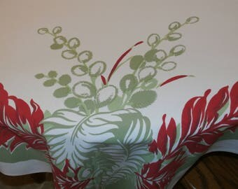 """Pretty 1950s Vintage Cotton Feather Leaf Design Tablecloth Red, Green  50 1/2"""" x 60 1/2""""  Excellent condition"""