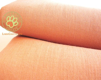Linen fabric remnants Sale! Firm light linen large out cuts for clothing, crafts & home decor; Pastel peach carrot color pure linen fabric;