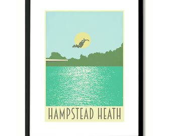 Hampstead Heath Bathing Ponds London Art Print