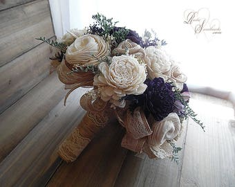 Ready to Ship ~ Large Deep Purple, Ivory and Jute Rustic Sola Flower Bridal Bouquet