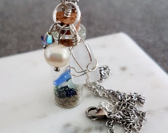 Message in a Bottle/Vacations on the Go/ Beach combing in a Vial Necklace. Sea glass/Sand/ Pebbles/Shells Freshwater Pearls and Swarovski