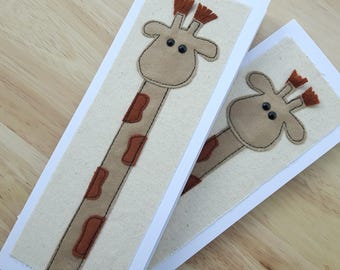 Applique  Giraffe birthday card, thankyou  card, textile card, children's card