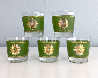 Mid Century Drinking Glasses with Green and Gold Details, Bourbon Drinker Gift Set of Five Cocktail Glasses, Mid Century Barware