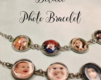 Custom Photo Bracelet, 5 photos, personalized photo jewelry, Gift Box, Holiday Card, Perfect Mothers' Day Gifts, grandma, mom, gift