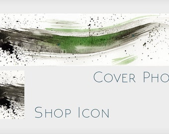 Abstract Watercolor Cover Design with Icon - Splatter Abstract Blank Etsy Shop Banner Without Text - Make Your Own Etsy Shop Design