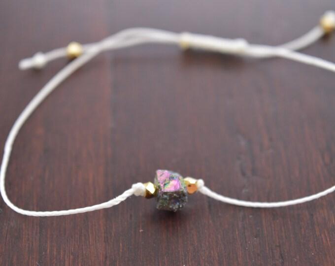 Titanium Quartz Crystal Nugget Bracelet, wish bracelet, best friend gift, minimalist jewelry, best friend bracelet, beaded bracelet
