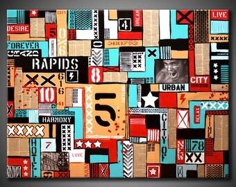 36x48 ORIGINAL Abstract Urban Painting BIG Modern Acrylic Red, Aqua, Grey, Black Fine Art by Federico Farias