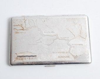 Vintage metal cigarette case, holder from USSR, Rare image of River Volga, Map