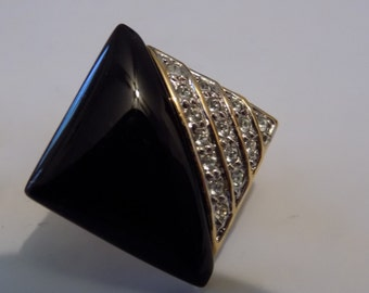 "Vintage earrings, signed ""Butler FAC"" earrings, black glass and crystals elegant clip-on earrings, designer jewelry"