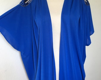 Vintage sequined beaded batwing top, 70s disco, 80s glam cape, bat wing blouse, royal blue sequin bead, art deco style, L XL oversized