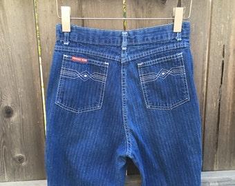 "Vintage 80s pinstripe jeans 25"", Prairie Rose Wrangler, 1980s dark denim striped, high waisted jeans, vtg high waist 25"" x 29L size 25x29"