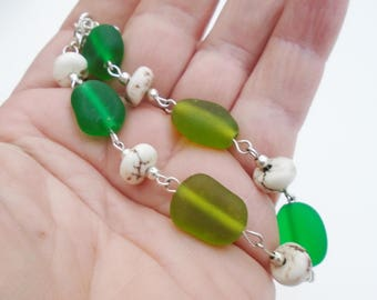 Green Treat Sea Glass bracelet