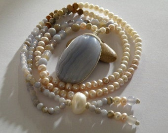 Blue Lace Agate gemstone necklace - chalcedony -jasper - freshwater pearls - long - beaded - woman's natural stone jewelry - tribal wear
