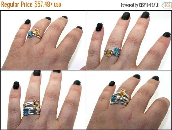 MothersDaySale Emerald Cut Gemstone Solitaire Ring Sterling Silver Purple Amethyst Blue White Topaz Iolite handmade size 3 4 5 6 7 8 9 10 11