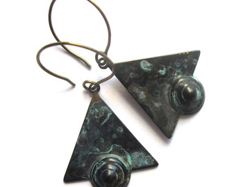 Patina Triangle Earrings Black and Turquoise Art Deco Style Fashion Jewelry