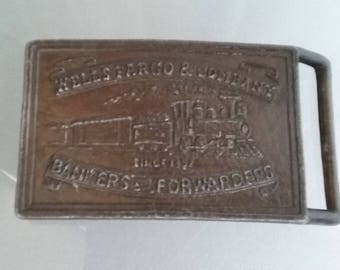 Brass Wells Fargo Belt Buckle with Train Image, Vintage Accessory, Classic Belt Buckle, Bankers and Forwarders