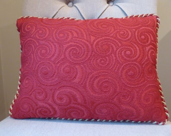Luscious red scroll pillow covers