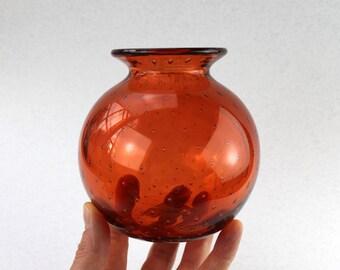 Warm Copper Brown/ Orange Hand Blown Glass Vase, SRA, Glassware, Flower Vase, Hand Blown by Marianne Degener