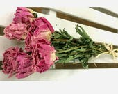 DRIED FLOWER BOUQUET Lovely Rose Pink color Dried Peony Flower bunch Prim flowers Wedding flowers cottage chic prim Peonies Flower bouquet