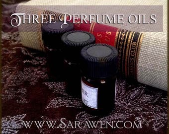 THREE Perfume Oils / 2ml Perfumes / Choose Your Scents / Vegan perfume oil / Handcrafted Perfume