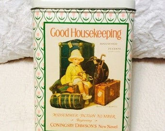 EASTER SALE Vintage Spring GOOD Housekeeping Tin Container with 1926 Advertising Umbrella