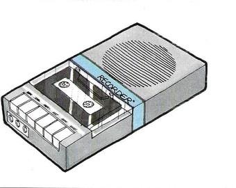 Vintage 1980's Ilustration - Tape Recorder