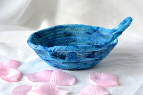 Indigo Ring Basket, Handmade Blue Bowl, Candy Dish, Blue Cotton Basket, Boho Chic Fabric Bowl, Itty Bitty Change Bowl