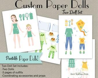 Custom Paper Dolls | Custom Printable Paper Dolls| Customized Doll | Paper Doll Art| Paperdoll