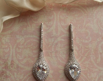 EVIE ~  Bridal Art Deco Silver with Dramatic Pear CZ and Pave Austrian Crystals Drop/Dangle Earrings