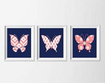 Ikat Butterfly Art Prints, Coral Navy Nursery Art Set of 3, Navy Girl Nursery Large Wall Art, Butterfly Ikat Big Girl Artwork, Coral Pink