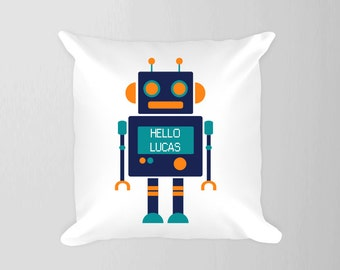 Robot Personalized Pillow Nursery, Boy Room Robot Decor, Boy Name Pillow, Nursery Robot Decor , Kids Pillow Decor, Boy Nursery Navy Orange