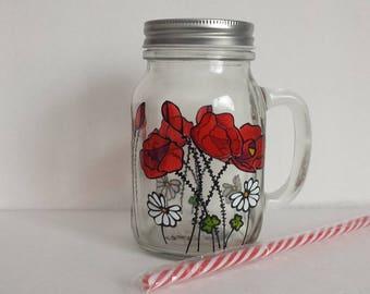 Poppies, handpainted on glass mug (Pot masson)