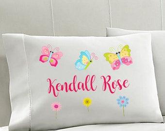 Personalized Kids Pillowcase,  BUTTERFLY Pillowcase,  GIRLS Pillowcase, Girls Bedding, BUTTERFLIES Pillow,  pillowcase