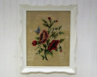 Vintage Creamy White Painted Wood Framed Completed Floral Needlepoint with Butterfly
