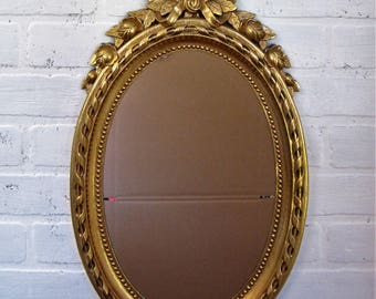"Vintage Syroco Homco type Ornate Gold Framed Mirror Roses and Bow 21"" by 12"""