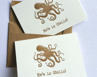Hello Octopus He'e  Letterpress Cards Stationery Set