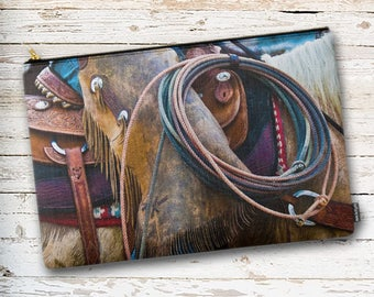 Rodeo Pouch, Rodeo Zippered Pouch, Cowgirl Makeup Bag, Pencil Case, Toiletry Bag, Tote Bag Organizer, Luggage Organizer, Organizer Bag