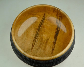 Embellished Wooden Ambrosia Maple Bowl -Pyrography - Figured by Nature - Handmade - Wood Bowl
