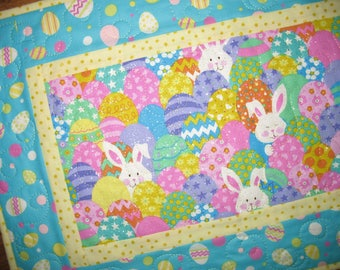 Easter Table Runner, Easter Eggs, bunnies, quilted table runner, silver metallic glitter