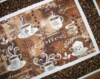 Coffee Table Runner, quilted table runner, handmade, cappuccino, expresso, coffee beans. handmade