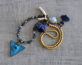 Inspiration Aqua Crystal, Gypsy Leather Evil Eye Necklace, Coral Tooth and Shell Necklace, Boho Tribal Necklace, Hippie Tassel Necklace